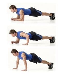Plank walkup to pushup